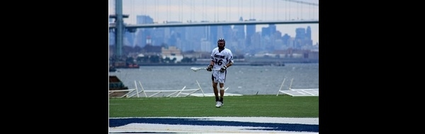 Lacrosse Player and NYC Skyline
